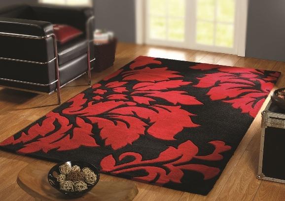 Tappeto in lana disegno floreale rosso e nero
