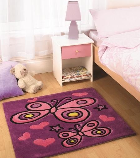 Tappeto bambina con farfalle rosa e viola
