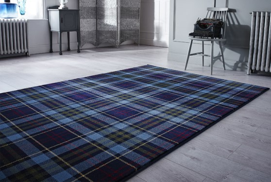 tappeto tartan scozzese blue