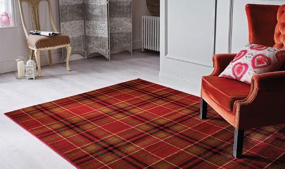 Tappeto disegno scozzese rosso