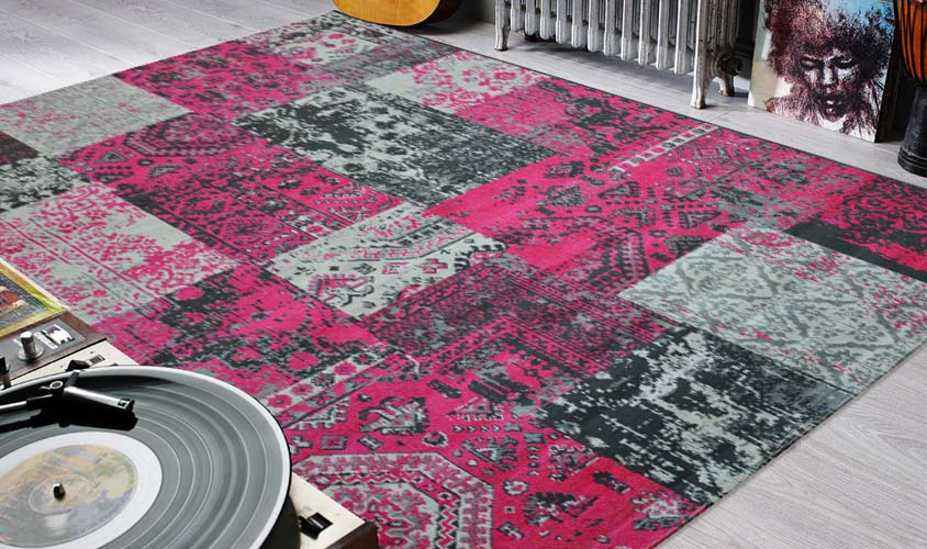 tappeti color rosa stile patchwork