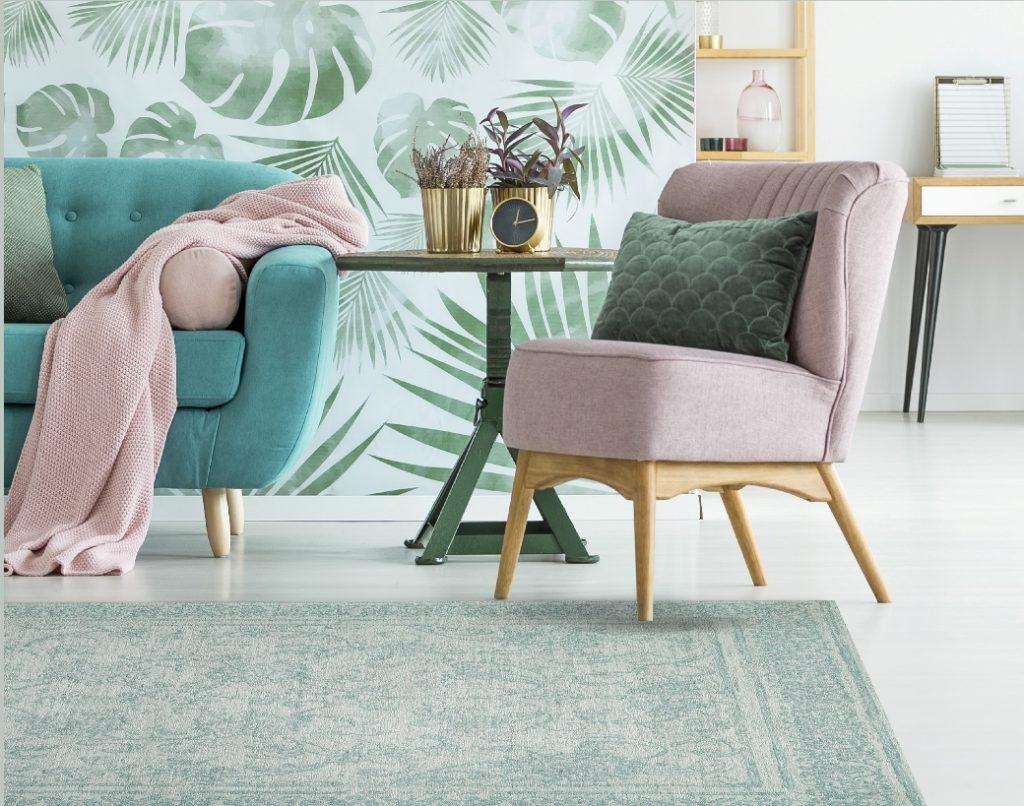 tappeto salotto color verde acqua
